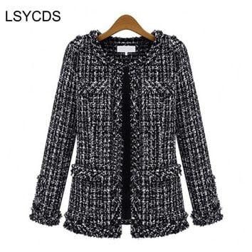 2017 Women Basic Coats Fashion Elegant Vintage Tweed  Winter Casual Formal Woolen Overcoat Coat Winter Jacket Women
