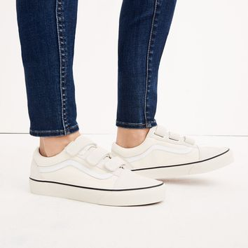 Vans® Unisex Old Skool Velcro Sneakers in Marshmallow Canvas