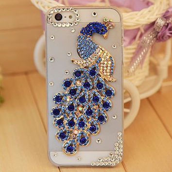 Rhinestone Bling Crystal Phone Case Peacock shell transparent PC Cover For Apple iPhone 5 5s 6 4.7