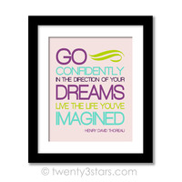 Go Confidently Quote Wall Art - Choose Any Colors - twenty3stars
