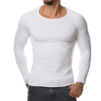 Mens knitted Sweaters Solid Color Pullover Men O Neck Sweater Men Long Sleeve Striped Sweaters Wool Casual Cashmere Knitwear