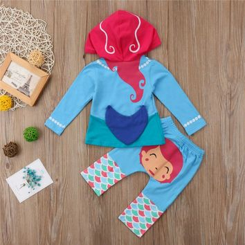 Little Mermaid Printed Clothes For Girls 2pcs Toddler Kids Girl Long Sleeve Hooded Tops Pants Outfit Children Girls Clothing Set