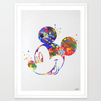 Mickey Mouse Disney Watercolor Art Print,Wall Art Poster,Kids Room Decor Art,Wall Hanging,Giclee Art,Birthday/Wedding Gift,No 75
