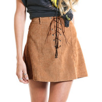 Khaki Faux Suede Lace-Up Front A-line Skirt
