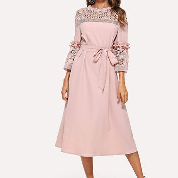 Lace Yoke and Sleeve Pearl Beading Belted Dress