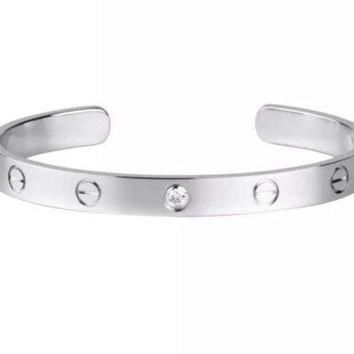 ONETOW Cartier LOVE Open Bracelet Bangle with 1 Diamond - Size 17 - K18 White Gold