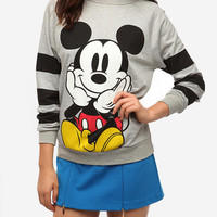 DOE Mickey Striped Sleeve Sweatshirt for women