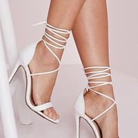 Missguided - Lace Up Barely There Heeled Sandals White Croc