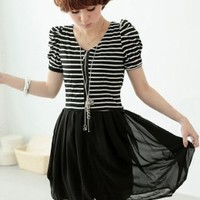 Fashionable Short Sleeve Stripe Dresses : Yoco-fashion.com