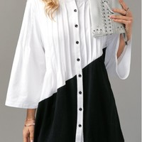 Pintuck Color Block Button Up Blouse | modlily.com - USD $29.28