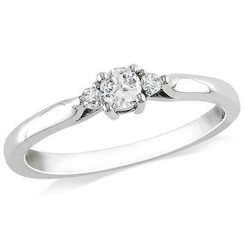 Lab-Created White Sapphire and Diamond Accent Three Stone Promise Ring in Sterling Silver - Save on Select Styles - Zales