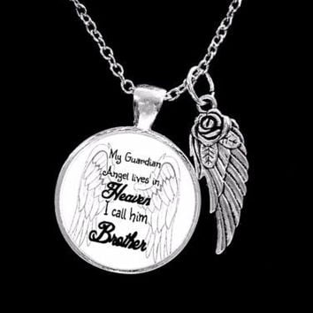 My Guardian Angel Lives In Heaven I Call Him Brother In Memory Wing Necklace