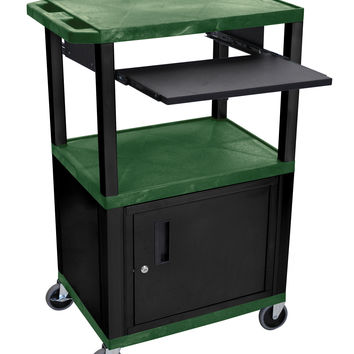 H.Wilson Multipurpose Rolling Multimedia Presentation AV Cart Black Lockable Storage Cabinet Pull Out Tray Hunter Green
