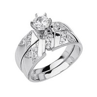 .925 Sterling Silver Rhodium Plated Ribbed Channel Set Wedding Engagement Ring and Matching Band 2 Piece Set