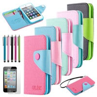 New Flip Wallet Credit Card Pouch Leather Case Cover For iPod Touch 4 4th Gen 4G