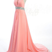 A-line Jewel Sweep/Brush Train Chiffon Evening Dress
