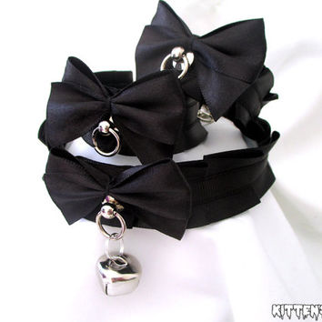 The Ashley Set - Elegant Thin Black Pleated Kitten Play/Pet Play Collar and Cuff Set (Custom Size)