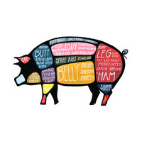 "Detailed Pig Butcher Diagram - ""Use Every Part of the Pig"" cuts of pork poster"