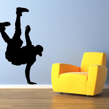 "Hip Hop Dancer Wall Decal Silhouette #1 Wall Decal Vinyl Sticker Home Bedroom Wall Home Studio Decor Sizes from 22"" to 60"" tall"