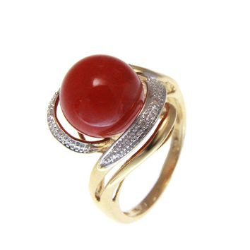 GENUINE NATURAL 10.35MM RED CORAL BALL DIAMOND RING SOLID 14K YELLOW GOLD