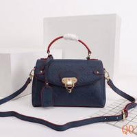 HCXX 19Aug 053 M48998 Louis Vuitton LV One Handle Flap Bag Leather Shoulder Strap Handbag 27-20-10cm Navy Blue
