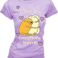 Adventure Time Jake I Love You Everything Burrito Juniors Heather Purple T-Shirt - Adventure Time - | TV Store Online