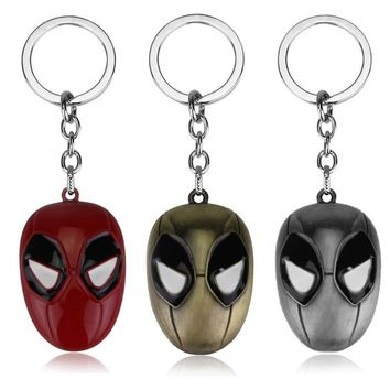 Personalized Jewellery Anime Deadpool Keychain Mask Pendant Keychain Metal Keyring Cosplay Handmade Men Jewelry Llavero Holders