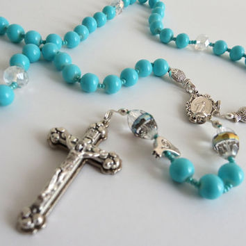 Turquoise-Color Rosary With Crystal Pater Beads