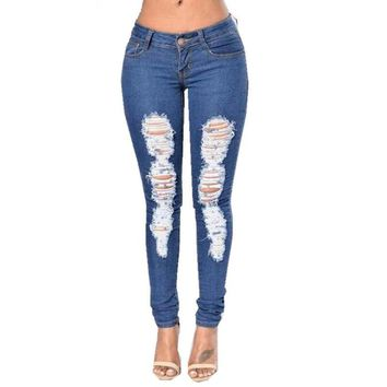 Sexy Fashion Women Skinny Denim Jeans Trousers Full Length Ripped  For Women's Jean Slim Hollow Pencil Pants Blue #90887
