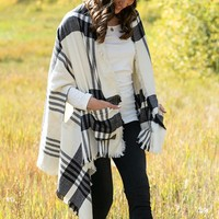 Winter Weight Pocket Poncho Scarf in Black and White