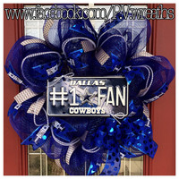 Dallas cowboys wreath - NFL wreath - Cowboys wreath - Dallas Cowboys - mesh wreath - Cowboys decor - football wreath