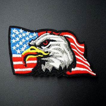 Eagle Size:5.1x9.0cm Iron On Patches Sewing Embroidered Applique for Jacket Clothes Stickers Badge DIY Apparel Accessories