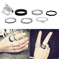 7PC/Set Silver Black Stack Plain Cute Above Knuckle Ring Band Midi Rings = 1946228228