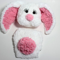 Bunny hat with floppy ears  and diaper cover set,easter bunny, spring photo prop,newborn photograpy,