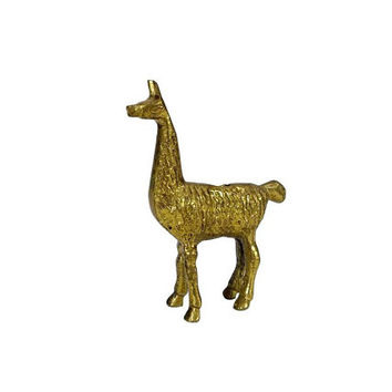 Vintage Brass Llama Alpaca Figurine Small Animal South American Mantle Home Bookshelf Decor Statuette