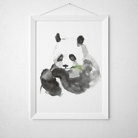 Cute panda poster Nursery decor Watercolor art print ACW16