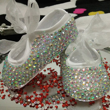 free shipping rhinestone Crystal Baby Girl Child shoes handmade Bling diamond First bead soft shoes customize any name birthday