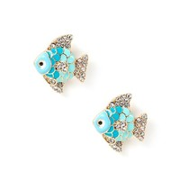 Enamel and Crystal Fish Stud Earrings  | Icing