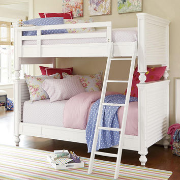 Seaside White Louvered Twin over Twin Bunk Bed