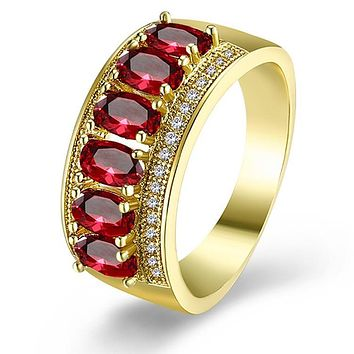 Ruby Multi Gem Micro-Pav'e Gold Cocktail Ring 925 Sterling Silver Unique Casual Rings