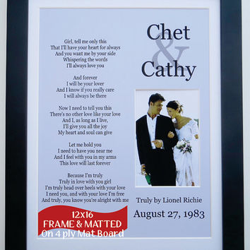 Photo Wedding Song Lyric Custom Gift: ANY Personalized Wedding Gift Lyrics Vows Anniversary Couple 11x14 Photo Mat Framed With Accent Mat