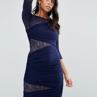 Forever Unique 3/4 Sleeve Bodycon Dress With Lace Panel at asos.com