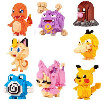 Pikachu Charmander Koffing Magikarp Geodude Psyduck Diglett Poliwrath Skitty Kecleon Nano Block Kids Building Toy Gift with box