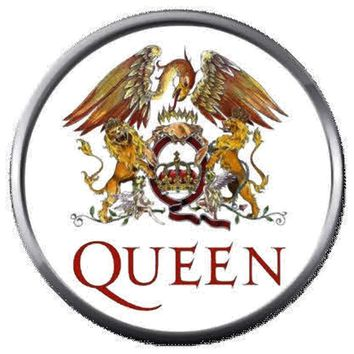 Freddie Mercury Artist Creates Queen Crest Logo Band Members Rock And Roll Hall Of Fame Musicians 18MM - 20MM Fashion Snap Jewelry Snap Charm