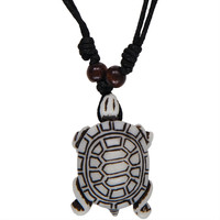 White Carved Pond Turtle Necklace with Cord