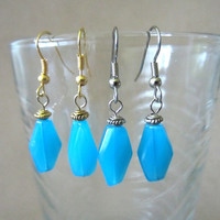 Turquoise Glass Bead Dangle Earrings, Handmade, Unique, Minimalist, Free Spirited, Bright, Colorful, Summer, Fashion Jewelry, Simple, Cute