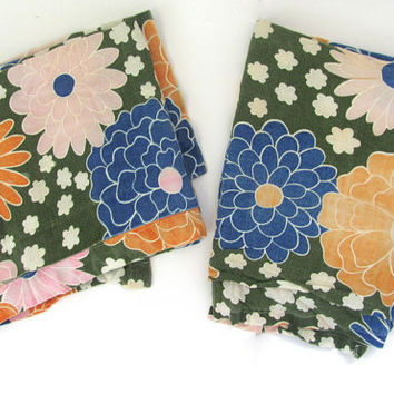Vintage set of 2 Curtain Panels. mid century Curtains // blue and orange floral fabric