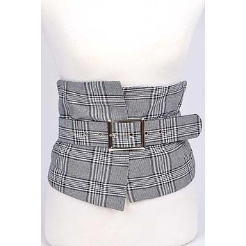 Plaid Print Corset Belt