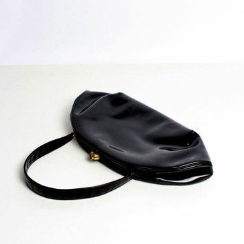 Black Vinyl Curved Clutch