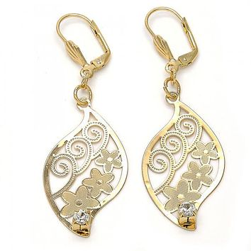 Gold Layered 064.014 Dangle Earring, Leaf and Flower Design, with White Crystal, Diamond Cutting Finish, Gold Tone